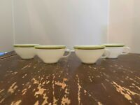 Vintage Pyrex Lime Green With Gold Trim Coffee Cup Set Of 4 J