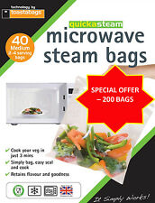 QUICKASTEAM - MEDIUM SIZE MICROWAVE STEAM BAGS 200 PK - GREAT VALUE MEGA PACK
