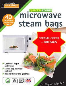 QUICKASTEAM - MEDIUM SIZE MICROWAVE STEAM BAGS 200 PK - GREAT VALUE MEGA PACK