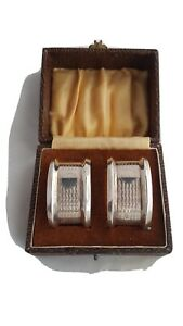 Pair of Silver Napkin Rings Cased Sheffield 1946