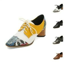 British Women's Splice Color Pointy Toe Chunky Low Heel Casual Lace Ups Shoes D