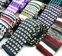 New Fashion Style Casual Geometric Patterns Polyester Knitted Neck Ties For Men