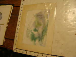 Original ROSE SUSLOVICH ART: Signed CAT drawing with color background, matting,