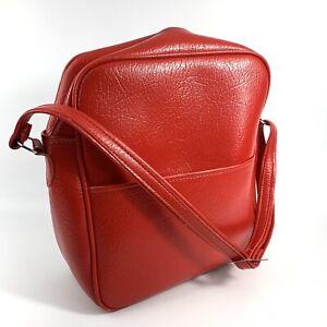 AIRWAY INDUSTRIES Vintage1960s Red Mod Vinyl Satchel Hand Luggage Bag