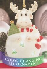 Lenox Color Changing Lit Moose Ornament w Cut Out Stars New in Box