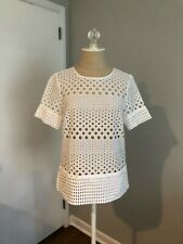 Michael Kors New without tags white 100% cotton Eyelet short sleeve blouse top S