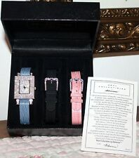 REAL COLLECTIBLES WATCH SET BY ADRIENNE *NEW * LE PAVE W/ INTERCHANGEABLE STRAPS