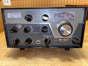 DRAKE R-4C AMATEUR RADIO HAM BANDS SSB AM CW TUBE RECEIVER (WORKS CONTROL NOISE)