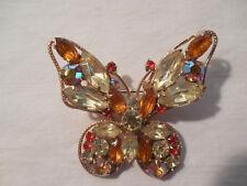 Juliana  amber rhinestones & AB rhinestones butterfly brooch