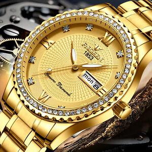 Waterproof Gold Men's Watch Classic Stainless Steel Quartz Diamond Business Gift