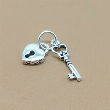 925 Sterling Silver Key and Lock Charm Pendant for Bracelet Necklace Love Heart