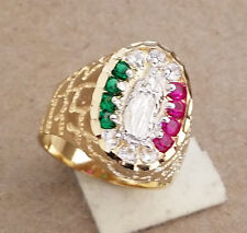 Men's Nugget 17 Color CZs Virgin Mary Ring Yellow Gold Rhodium Plated Size 12