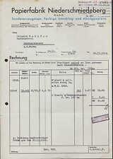 NIEDERSCHMIEDEBERG, Rechnung 1940, Papier-Fabrik Niederschmiedeberg G.m.b.H.