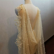 Champagne Bridal Veils Shoulder Cape Pearls Tulle Lace Cathedral Veil for Brides