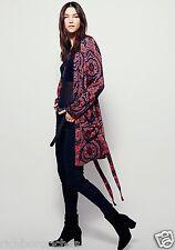NEW Free People red black paisley belt Sensual Printed Duster Coat Robe L $168