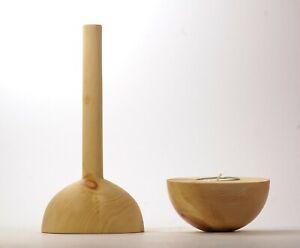 Set aus Vase und Balance-Teelicht, Zirbenholz ca.180x80mm und 95x45mm