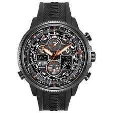 NEW CITIZEN NAVIHAWK ALL BLACK CASE RADIO CONTROLLED BLACK DIAL JY8035-04E