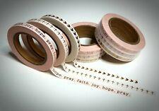 Washi Tape Sample 3 x 5mm x 1m Weiss Vögel Schriftzug Kreuz Gold Glänzend Nr.4