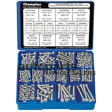 CHAMPION KIT MACHINE SCREWS & NUTS BSW ALL 304 STAINLESS STEEL (256 Pieces)