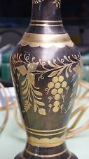 Pair Brass Table Lamps Hollywood Regency Floral Grape Pattern Mid Century Deco