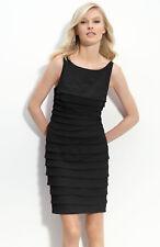JS Collections Pleated Chiffon Dress Black Size 8