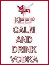 Keep Calm Y Bebida Smirnoff signo de Aluminio de Metal Cerveza Vodka Pub Bar signos Cueva