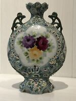 Antique Japanese Meiji Period Nippon Moriage Moon Flask Vase Perfect Condition