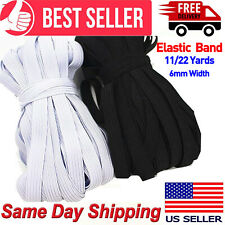 "6mm (1/4"") Flat 11/22 Yards Braided Elastic Band Cord Sewing Trim String Diy US"