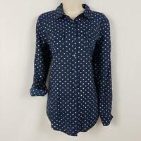 Van Heusen Button Blouse Women's Size Medium Blue Polka Dots Rayon Long Sleeves