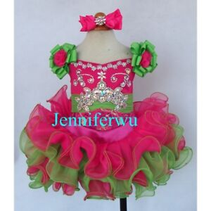 Infant/toddler/kids/baby/children Girl's Glitz Pageant Dress 1-6T G026A