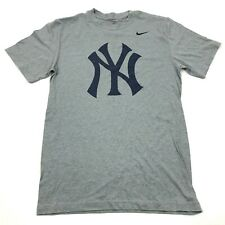 Nike New York Yankees Shirt Size Small S Gray Blue Regular Fit MLB Baseball Tee