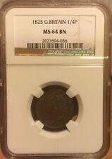 1/4 FARTHING 1825 NGC MS64BN GREAT BRITAIN 1/4P