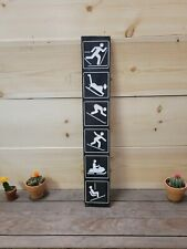 Winter Icons/Carved Rustic Wood Sign/Outdoor sports/Recreational/Snow Skiing