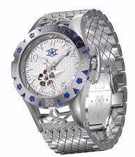 New Mens Watchstar American Star Open Heart Automatic Steel 48mm 21 Jewel Watch