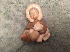 Lladro Figurine Eskimo Holding A Polar Bear Cub Excellent Condition Inuit