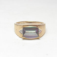 Mens Estate 10K Yellow Gold 4.50 Ct Synthetic Mystic Topaz And Diamond Ring