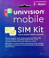 Lot of 6 New Univision Mobile Dual Cut Sim Card Kit T-Mobile Network