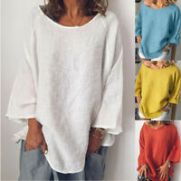 Womens Casual Baggy 3/4 Sleeve Cotton Linen T-Shirt Loose Pullover Tops Blouse