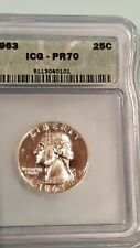 1963 ICG Proof PR70 Cameo Washington Silver Quarter, Perfect grade of PF 70