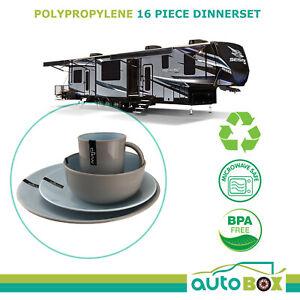 Caravan Polypropylene 16 Piece Dinnerware Set Dishwasher Microwave Safe BPA Free