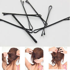 60Pcs Top Bobby Pins Color Black Streamline Design Metal Type Women's Hair Clips