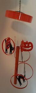 VTG Halloween Wind Chimes Pumpkin Black Cat Jack O Lantern Spooky Decor Orange