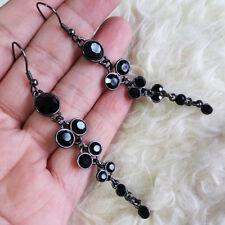 Vintage Womens Black Plastic Beads Fashion Dangle Drop Hook Earrings 7cm Long