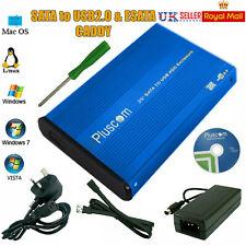 "3.5"" SATA USB2.0 External Hard Drive Computer HDD Enclosure Aluminium Caddy Case"