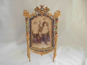 SUPERB ANTIQUE FRENCH ENAMELED GILT BRONZE PHOTO FRAME,LATE 19th CENTURY