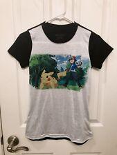 Women's Cute Pokémon Graphic T Shirt Ash And Pikachu Baseball Tee - Size XS