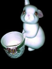 Vintage 1980 Avon Bunny Bright Ceramic Fragrance Candle Holder Used Easter