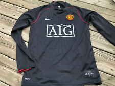 2000s Manchester United AIG Long Sleeve Jersey, Black Nike Small