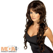 Cheryl Cole Pop Star Brown Long Wig Fancy Dress Celebrity Costume Accessory New