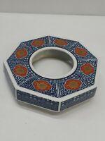 """Antique Ashtray Ceramic Chinese Japanese Blue White Octagonal 6.5"""""""